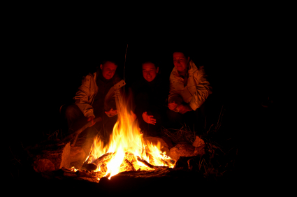 campfire with people