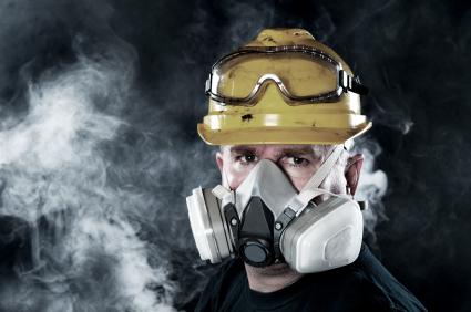 Man wearing smoke mask