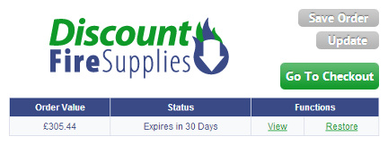 Saved orders on Discount Fire Supplies