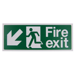 Fire Exit Arrow Down/Left Sign (400x150mm Rigid)