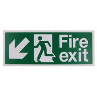 Fire Signs, Emergency Exit Signs - Fire Exit Arrow Down/Left Sign (400x150mm Rigid)