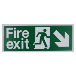 Fire Exit Arrow Down/Right Sign (400x150mm Rigid)