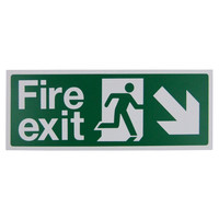 Fire Signs, Emergency Exit Signs - Fire Exit Arrow Down/Right Sign (400x150mm Rigid)
