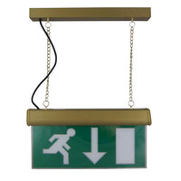 Emergency Lighting, Emergency Exit Signs - Hanging Maintained Emergency Exit Sign (Brass)