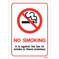 Cigarette Smoke Detectors, No Smoking Signs - White PVC No Smoking Sign with Text