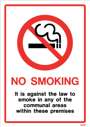 White Pvc Communal Area No Smoking Sign With Text