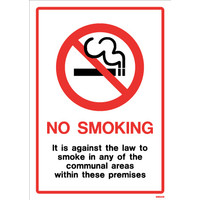 Cigarette Smoke Detectors, No Smoking Signs - White PVC Communal Area No Smoking Sign with Text