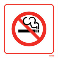 Cigarette Smoke Detectors, No Smoking Signs - White Self-Adhesive No Smoking Sign