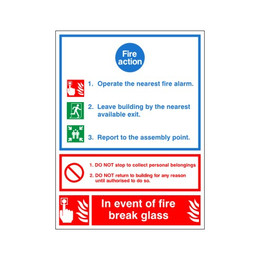 Fire Action Sign A