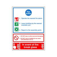 Fire Signs, Fire Action Signs - Fire Action Sign A