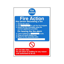 Fire Action Sign E