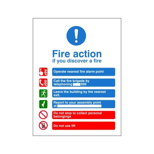 Fire Action Sign H Discount Fire Supplies