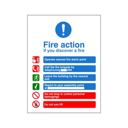 Fire Action Sign H