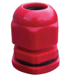 Red Fire Cable Gland For 2 Core x 1.0 or 1.5mm Cable c/w Nut & Washer