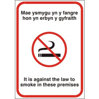 Cigarette Smoke Detectors, No Smoking Signs - Welsh No Smoking Sign