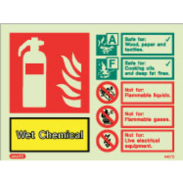 Photoluminescent Wet Chemical Fire Extinguisher ID Sign