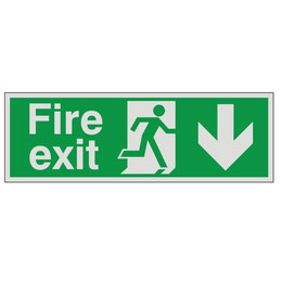 Prestige Fire Exit Sign Arrow Down