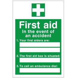 First Aid 'In the event of an accident' Sign