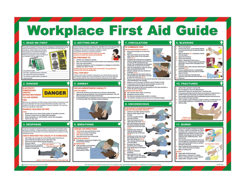 Workplace First Aid Guide Poster Discount Fire Supplies