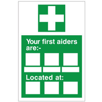 Fire Signs, First Aid Signs - Your First Aiders Are Sign