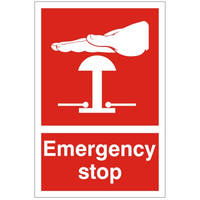 Fire Signs, First Aid Signs - Emergency Stop Sign Red
