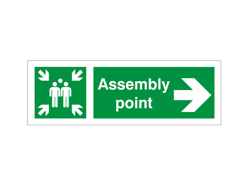 Assembly Point Arrow Right Sign Discount Fire Supplies