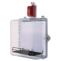 AED Protective Cabinet with Alarm, Strobe, Backplate, Wire Shelf & Thumb Lock