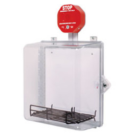AED Protective Cabinet with Alarm, Backplate, Wire Shelf & Thumb Lock