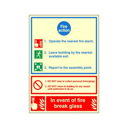 Photoluminescent Fire Action Sign A