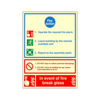 Fire Signs, Photoluminescent Fire Action Signs - Photoluminescent Fire Action Sign A