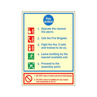 Fire Signs, Photoluminescent Fire Action Signs - Photoluminescent Fire Action Sign B