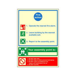 Photoluminescent Fire Action Sign C