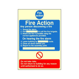 Photoluminescent Fire Action Sign D