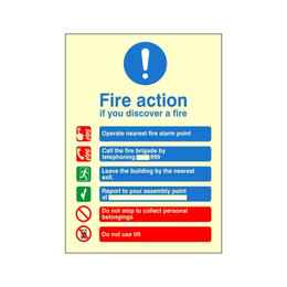 Photoluminescent Fire Action Sign H