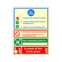 Fire Signs, Photoluminescent Fire Action Signs - Photoluminescent Fire Action Sign G