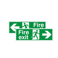 Fire Signs, Emergency Exit Signs - Double Sided Left / Right Fire Exit Sign (400x150mm Rigid)