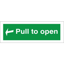 Fire Exit Pull Bar To Open Arrow Back Sign