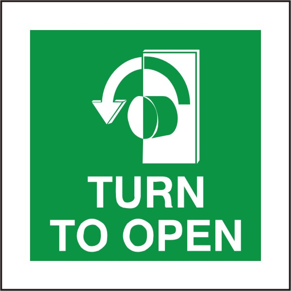 Fire Exit Turn To Open Sign Anti Clockwise Arrow