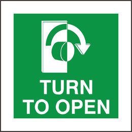 Fire Exit Turn To Open Sign (Clockwise Arrow)