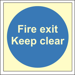Photoluminescent Fire Exit Keep Clear Sign