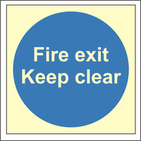 Fire Signs, Photoluminescent Fire Door Signs - Photoluminescent Fire Exit Keep Clear Sign