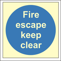 Fire Signs, Photoluminescent Fire Door Signs - Photoluminescent Fire Escape Keep Clear Sign