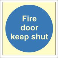 Fire Signs, Photoluminescent Fire Door Signs - Photoluminescent Fire Door Keep Shut Sign