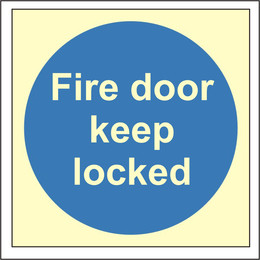 Photoluminescent Fire Door Keep Locked Sign