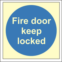 Fire Signs, Photoluminescent Fire Door Signs - Photoluminescent Fire Door Keep Locked Sign