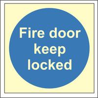 Fire Signs, Photoluminescent Fire Door Signs - Photoluminescent Fire Door Keep Locked Sign