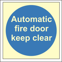 Fire Signs, Photoluminescent Fire Door Signs - Photoluminescent Automatic Fire Door Keep Clear Sign