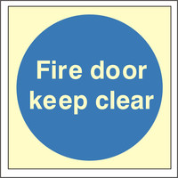 Fire Signs, Photoluminescent Fire Door Signs - Photoluminescent Fire Door Keep Clear Sign