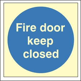 Photoluminescent Fire Door Keep Closed Sign