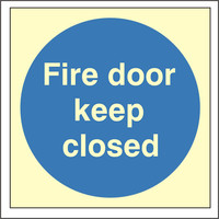 Fire Signs, Photoluminescent Fire Door Signs - Photoluminescent Fire Door Keep Closed Sign